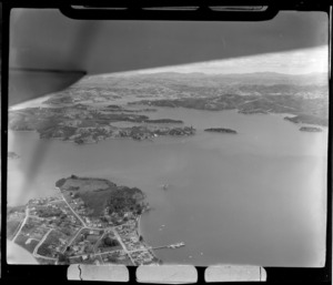 The settlement of Russell with wharf and Kororareka Bay, looking south to Pomare Bay and Opua beyond, Bay of Islands, Northland Region