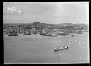 Waitemata Harbour, Auckland, including yachts sailing and a ship in harbour