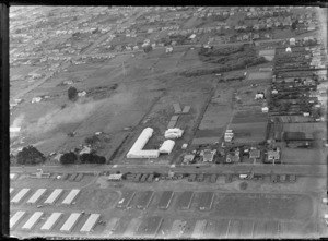 View of Steel Pipe and Engineering Co NZ Ltd factory buildings surrounded by residential housing, Onehunga, South Auckland