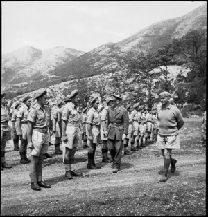 Lieutenant General Edward Puttick inspects New Zealand Divisional Artillery, Italy, World War II - Photograph taken by M D Elias