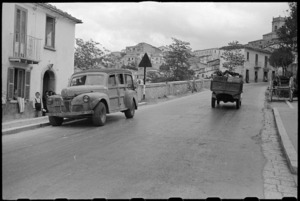 NZ PRS staff car in the village of Ariano Irpino, Italy, World War II - Photograph taken by George Bull