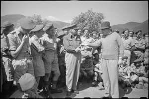 Prime Minister Peter Fraser emphasises a point when addressing troops in the Cassino area, Italy, World War II - Photograph taken by George Bull