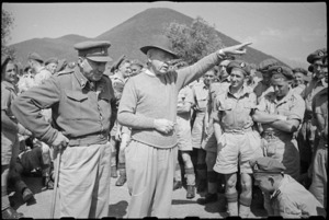 Prime Minister Peter Fraser addressing NZ troops in the Cassino area, Italy, World War II - Photograph taken by George Bull