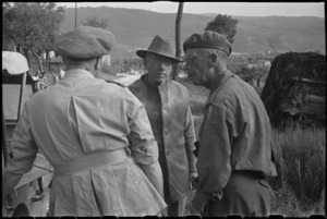 Prime Minister Peter Fraser at 5 NZ Infantry Brigade Headquarters near Sora, Italy, World War II - Photograph taken by George Bull