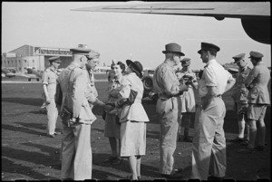 Prime Minister Peter Fraser with farewell party at Bari Airport, Italy, World War II - Photograph taken by George Bull