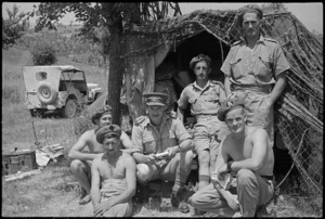 Group outside the 29 Battery Command Post near Sora area, Italy, World War II - Photograph taken by George Kaye