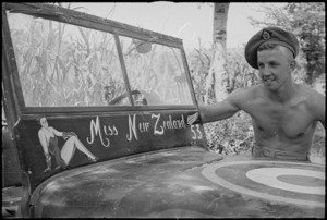 D I Johns with a decorated jeep near Sora, Italy, World War II - Photograph taken by George Kaye