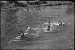 New Zealanders swimming in the Fibrino River, Italy, World War II - Photograph taken by George Kaye