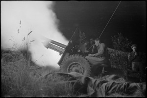 New Zealand 25 Pounder firing at night near Sora, Italy, World War II - Photograph taken by George Kaye