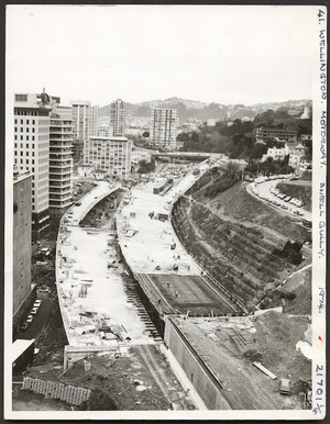 Wellington Urban Motorway under construction at Shell Gully