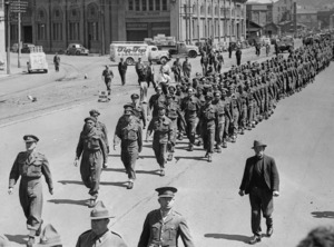 Maori Battalion marching in a parade, Wellington