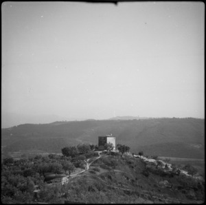 White flag flies from outpost at Brocco, Italy, as 2 NZ Division approaches, World War II - Photograph taken by Cedric Mentiplay
