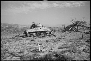 Burnt out New Zealand Sherman tank near Orsogna, Italy, World War II - Photograph taken by George Kaye