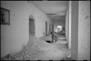 German dug-outs in the school at Orsogna, Italy, World War II - Photograph taken by George Kaye
