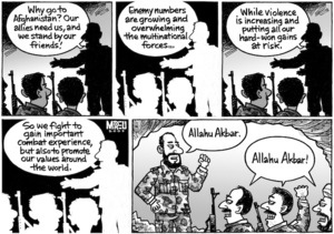 """""""Why go to Afghanistan? Our allies need us, and we stand by our friends! Enemy numbers are growing and overwhelming the multinational forces... Allahu Akbar."""" """"Allahu Akbar!"""" 12 August 2009"""
