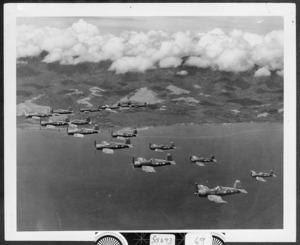 RNZAF Corsair fighter planes flying over Guadalcanal, Solomon Islands, during World War II