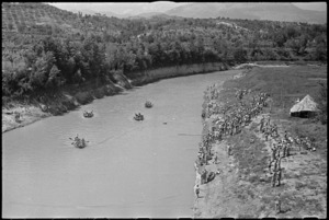General view of boat race called 'The Balsorano Bludger's Scramble' at 24 NZ Battalion's aquatic derby at Arce, Italy, World War II - Photograph taken by George Kaye