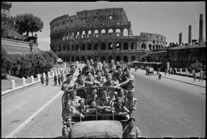 Truckload of New Zealand soldiers on leave in front of the Colosseum in Rome, Italy, World War II - Photograph taken by George Kaye
