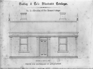 Findlay & Co. :Findlay and Co's illustrated catalogue. No. 2. Elevation of five roomed cottage. Scale 1/4 inch to a foot. Prices for material on application. [1874]