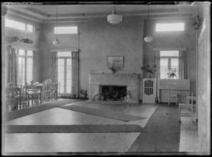 Interior view of dining room, Auckland Aero Club