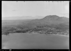 Taupo, including housing and Mount Ruapehu in the background