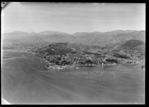 Nelson City and the hill suburb of Stepneyville with the Port of Nelson wharf and industrial area, with Tasman Bay and the Waimea Inlet beyond