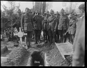 World War 1 New Zealand soldiers at the burial of Sapper J F Haynes, Romarin, France