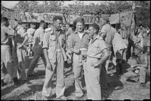 Outside the Plonk bar at 5 NZ Field Regiment Gymkhana, Arce, Italy, World War II - Photograph taken by George Bull