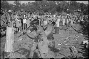 Start of wood chopping event at 5 NZ Field Regiment Gymkhana, Arce, Italy, World War II - Photograph taken by George Bull