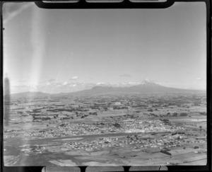 Waitara township and River, North Taranaki, including Mt Egmont in the distance