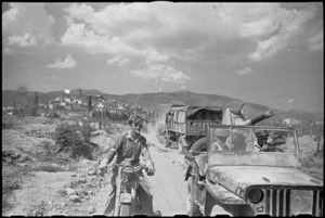 New Zealand Divisional transport on the way to Arezzo in Italy, during World War II - Photograph taken by George Kaye