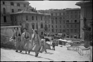 Tuis on leave in Rome ascending steps to church of Trinita di Monti with Keats House on left - Photograph taken by George Kaye