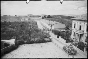 View of northern outskirts of San Casciano during the battle for Florence, Italy, World War II - Photograph taken by George Kaye
