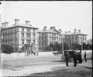 Street scene by Government Buildings, Lambton Quay, Wellington