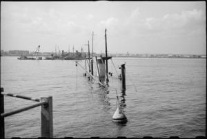 Sunken ship in Bari Harbour, Italy, World War II - Photograph taken by George Bull