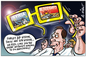 """Nisbet, Alastair, 1958- :""""Forget 3D vision, these are the new UN vision ... ya feel like you're there without having to do anything!"""" 24 June 2012"""