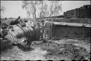 Sherman tank destroyed by a German Tiger tank in Florence area, Italy, World War II - Photograph taken by George Kaye