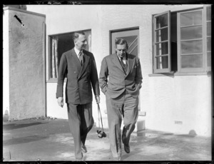 Lord Knollys, Chairman of British Overseas Airways Corporation, with Sir Leonard Isitt, at an unidentified location