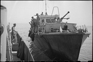 World War II naval motor launch alongside sister ship while on patrol in the Adriatic - Photograph taken by George Bull