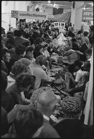 Crowd at a fire sale inside a McKenzie's department store in Wellington