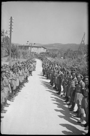 New Zealanders lined up on Winston Churchill's route during his visit to NZ troops on 8th Army Front before battle for Florence, Italy, World War II