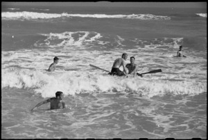 Some of the New Zealanders at Rest Camp near Ancona, Italy, swimming in the Adriatic Sea, World War II - Photograph taken by George Kaye