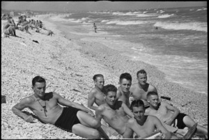 Group of World War II New Zealand soldiers on the beach near Ancona, Italy, World War II - Photograph taken by George Kaye
