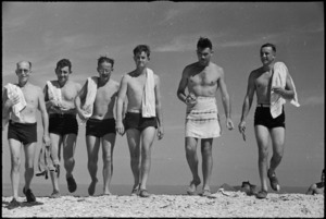 Group of World War II New Zealand medical officers returning from a swim in the Adriatic Sea near Ancona, Italy, World War II - Photograph taken by George Kaye