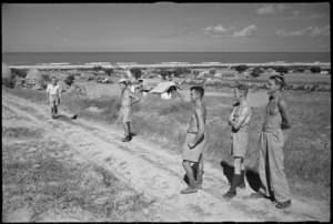 View of New Zealand Rest Camp organised by 6 NZ Field Ambulance on shores of Adriatic, Italy, World War II - Photograph taken by George Kaye
