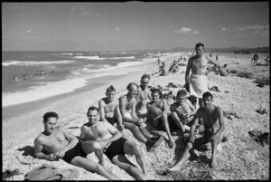 Group of New Zealand soldiers from 27 NZ Battalion HQ on beach near Ancona, Italy, World War II - Photograph taken by George Kaye