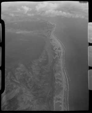 Farewell Spit, Tasman District, taken from a NAC (National Airways Corporation) Viscount aircraft, including coastline