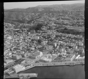 View over the Wellington City waterfront with Chaffers Wharf and Jervois Quay to the Terrace and the suburb of Kelburn with Victoria University