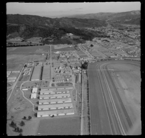 Trentham Racecourse with Davis Field, looking south to the suburb of Heretaunga, Upper Hutt Valley, Wellington Region
