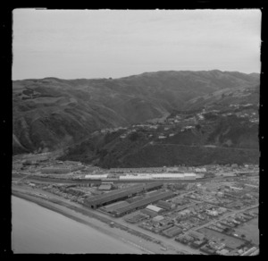 View of Petone Beach, The Esplanade, industrial buildings and the Hutt Road with Belmont Regional Park beyond, Lower Hutt Valley, Wellington Region